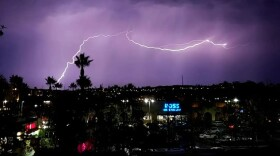 Lightning in Mission Valley from a fall thunderstorm, Oct. 4, 2021.