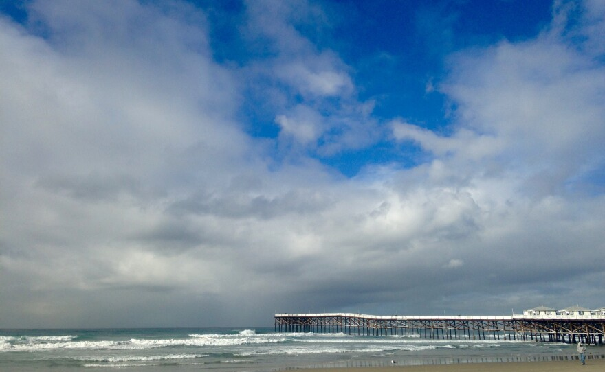 Clouds hover over Crystal Pier in Pacific Beach, Jan. 4, 2016.