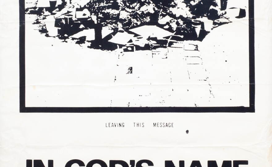 Commemorative poster with George Winne's appeal to end the Vietnam war.