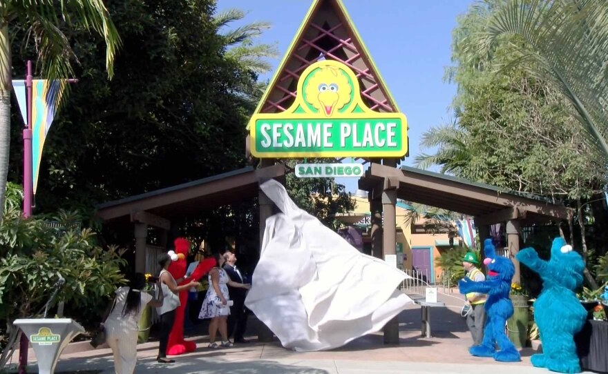 SeaWorld Parks and Entertainment unveils new sign for Sesame Place San Diego on Sept. 15, 2021.