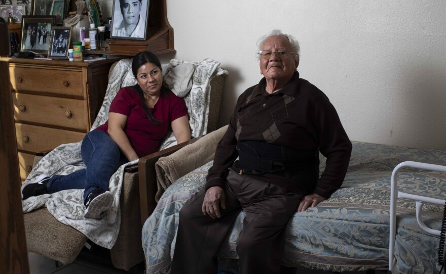 Francisco Rios, 91, sits in his own room in his daughter Cristina Hernandez's house in Pomona in this undated photo.