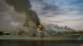 Smoke rising from the USS Bonhomme Richard fire at Naval Base San Diego, July 12, 2020.