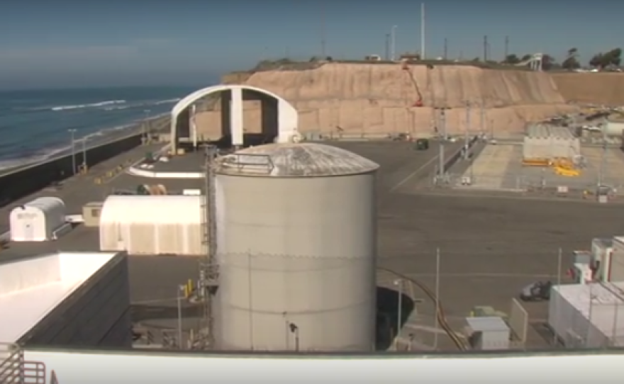 The site where Southern California Edison is storing radioactive fuel at the shuttered San Onofre nuclear power plant, October 2015.