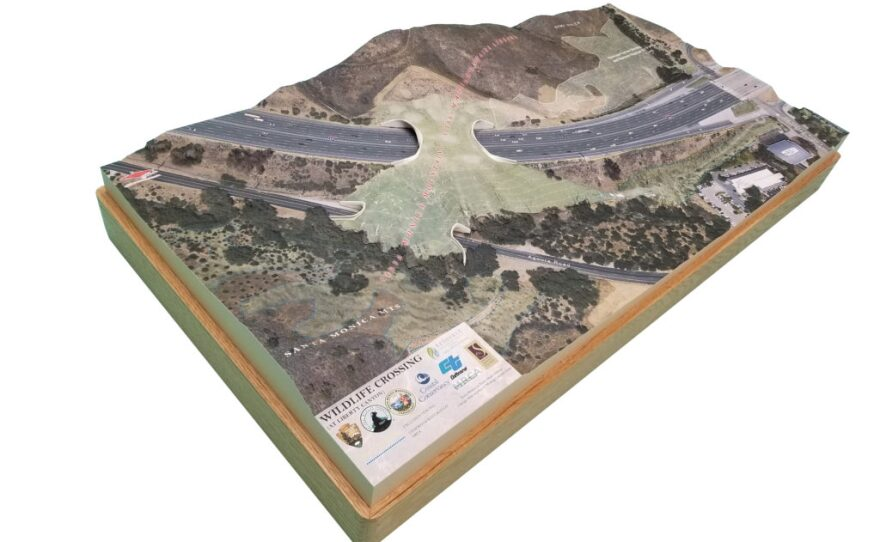 Resource Conservation District of the Santa Monica Mountains Model of the wildlife corridor bridge over a freeway north of Los Angeles in this undated photo.