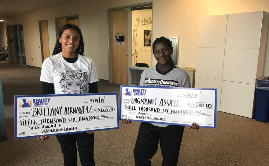 Brittany Hernandez and Dagmawit Assaye won scholarships to study in Hawaii because they earned the top two highest GPAs in the Reality Changers program. City Heights, May 21, 2019.