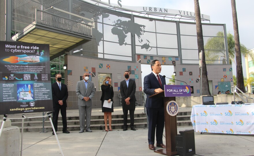 San Diego Mayor Todd Gloria announcing expanded free Wi-Fi access in San Diego at the City Heights Weingart Library, April 20, 2021.