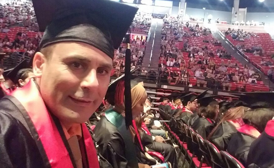 This photo released by a family member shows Robin Shahini during his International Security and Conflict Resolution San Diego State University graduation ceremony in San Diego, May 2016.