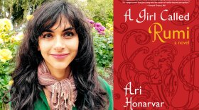 """Author Ari Honarvar and the cover of her book, """"A Girl Called Rumi"""""""