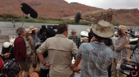 Historian Richard Quartaroli explains to the crew what provisions Powell had on his expedition.