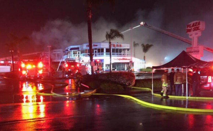 Firefighters fighting a three-alarm fire at the China Max Seafood Restaurant in Kearny Mesa on April 7, 2020.