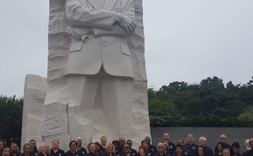The Martin Luther King Jr. Community Choir San Diego is shown in an undated photo with the Martin Luther King Jr. Memorial in Washington, D.C.