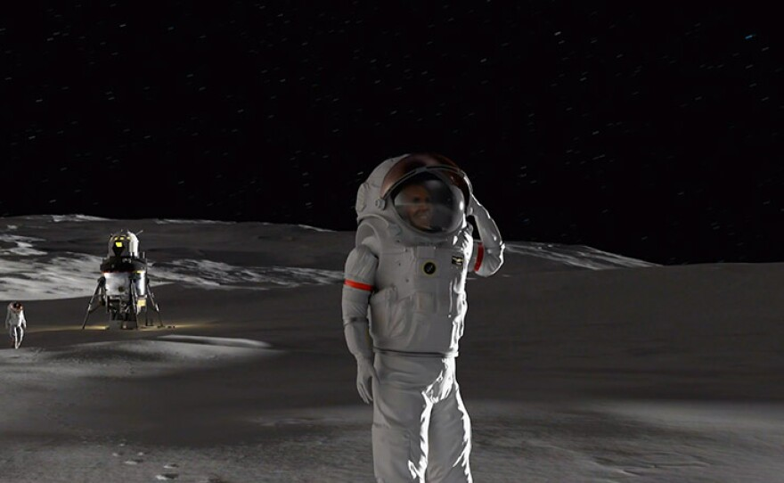 """Animation of astronauts on Moon. NOVA's """"Back To The Moon"""" looks ahead to the hoped-for dawn of a new age in lunar exploration."""