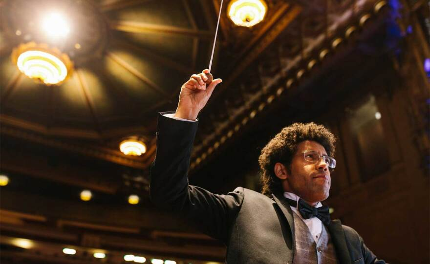 Rafael Payare conducts the San Diego Symphony at Copley Symphony Hall in an undated photograph.