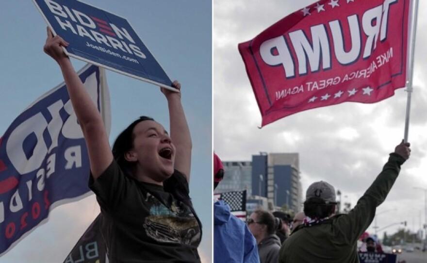 Supporters of President-elect Joe Biden and supporters of President Trump demonstrate in San Diego, Nov. 7, 2020.