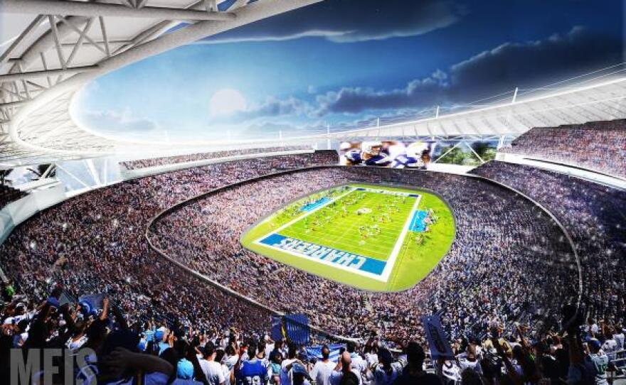 A rendering of the proposed Chargers stadium in Mission Valley. It was created by MEIS, a New York-based stadium architecture and design firm.