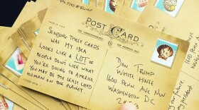 Zack Kushner, Ides of Trump co-organizer, mails a stack of messages to Donald Trump from Berkeley, Calif., March 15, 2017.