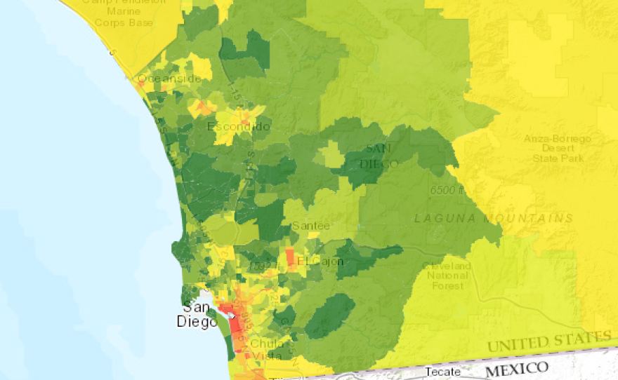 A map from CalEnviroScreen shows areas in green where San Diego County's air quality is relatively good. Areas in red, including the South Bay, have higher levels of pollution.