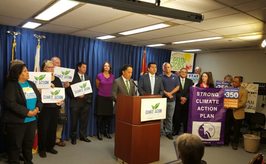 City officials, union leaders, environmentalists at a press conference in support of San Diego's Climate Action Plan, Nov. 30, 2015.