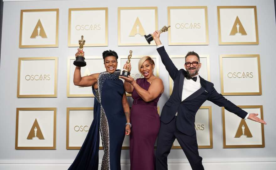 Mia Neal, Jamika Wilson and Sergio Lopez-Rivera pose backstage with the Oscar® for Makeup and Hairstyling during the live ABC Telecast of The 93rd Oscars® at Union Station in Los Angeles, CA on Sunday, April 25, 2021.