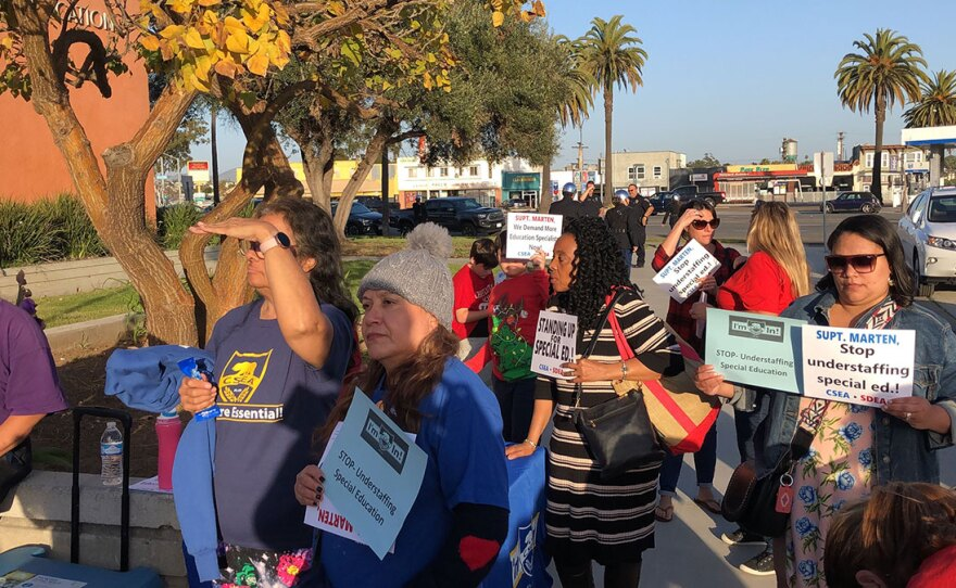 Special education teachers and support staff protest at the San Diego Unified School District Office on Feb. 11, 2020.