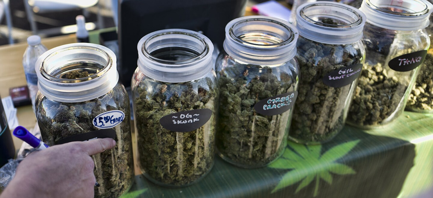 A vendor points to a selection of cannabis strains for sale during a 2018 marijuana festival in California.