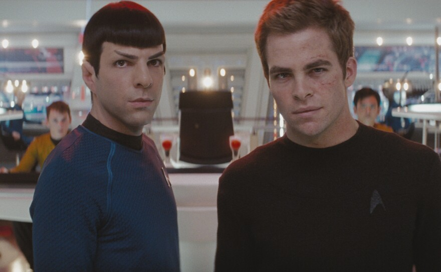 Zacahry Quinto and Chris Pine play younger versions of Spock and Kirk in the new Star Trek movie.