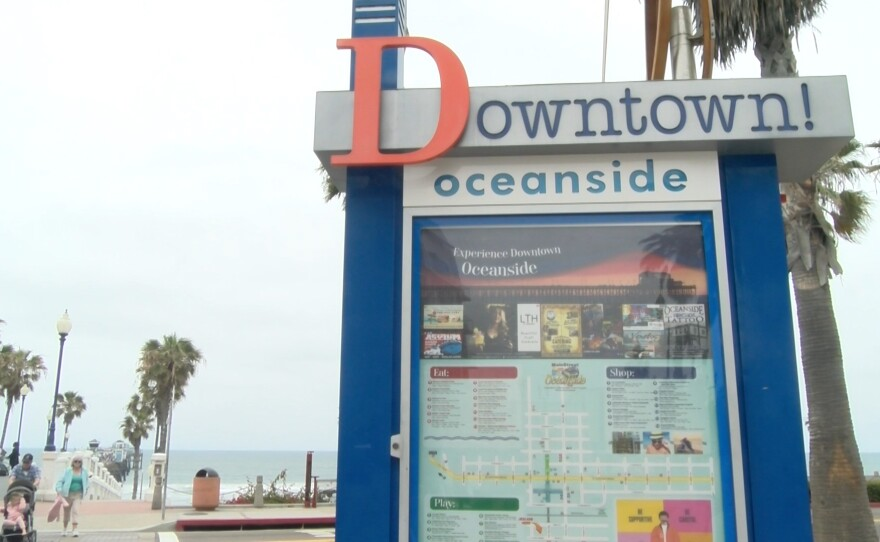 """A sign reading """"Downtown Oceanside"""" in Oceanside, Calif. is shown in this undated photo."""