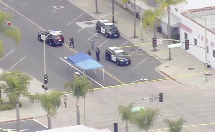 Escondido police at the scene of a fatal police-involved shooting in downtown Escondido, April 21, 2021.