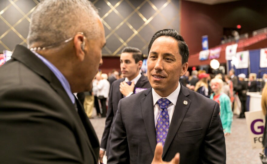 California State Assembly candidate Todd Gloria talks to San Diegans at Golden Hall in downtown San Diego, Nov. 8, 2016.