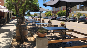An outdoor dining parklet at the Rose Wine Bar in the South Park neighborhood of San Diego, Calif. Aug. 3, 2021.