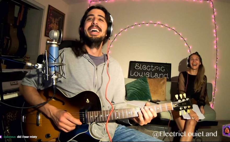 Louis Valenzuela is behind ElectricLouieLand, a livestreaming outlet for musicians in San Diego. In a recent stream, Valenzuela and vocalist Jessi Carr performed duos and standards together.