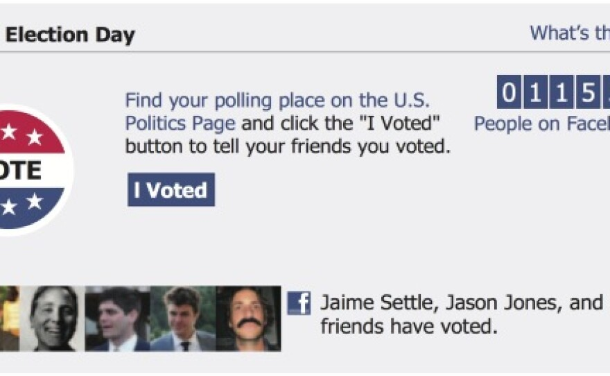 An example of the Facebook message shown on Election Day in 2010.