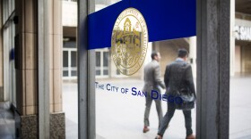 San Diego's seal is shown at the downtown City Administration Building, May 8, 2018.