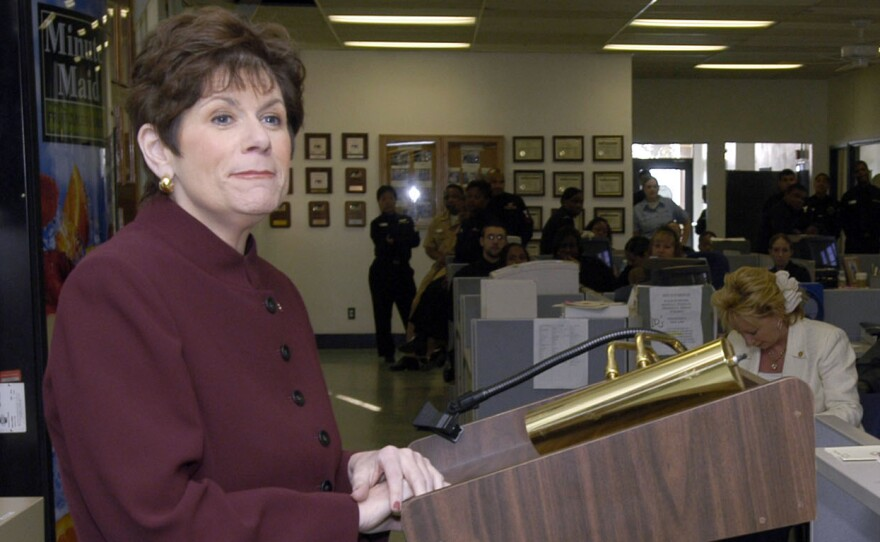 Bonnie Dumanis speaks at a luncheon at Naval Air Station North Island in San Diego, March 30, 2005.