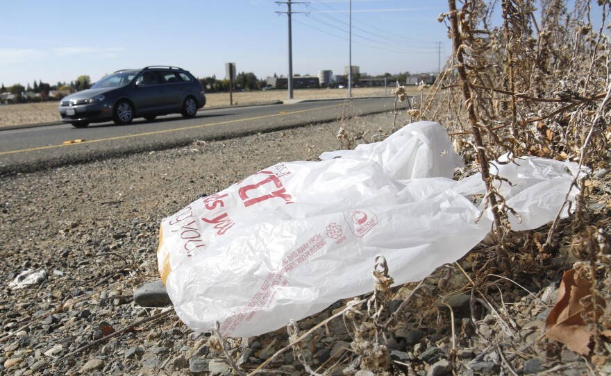 A plastic shopping bag litters the roadside in Sacramento, Oct. 25, 2013.