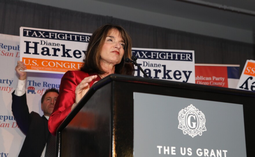 Republican Diane Harkey speaks at a podium at The US Grant Hotel on election night, Nov. 6, 2018.