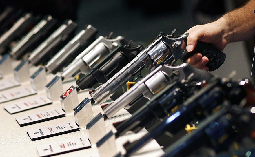 Handguns are displayed at a trade show in Las Vegas in this undated file photo.