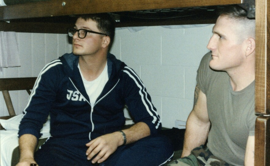 Mark Deville (left) shown at about the time of the firefight.