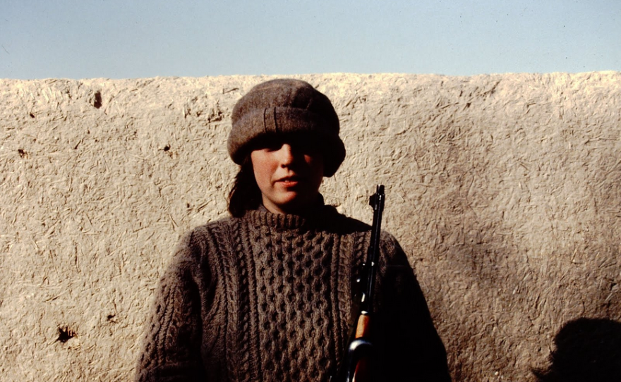 """Melissa Burch poses for a photo in Kandahar, Afghanistan, 1982. This image is featured in her memoir, """"My Journey Through War and Peace."""""""