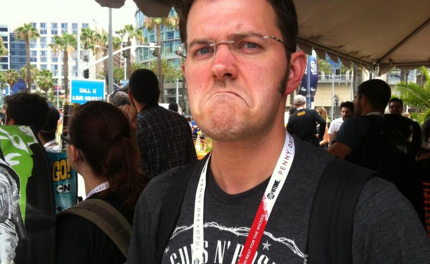 Even James Rolfe, better known on YouTube as The Angry Video Game Nerd, was happy about waiting in line for Hall H. July 10, 2015.