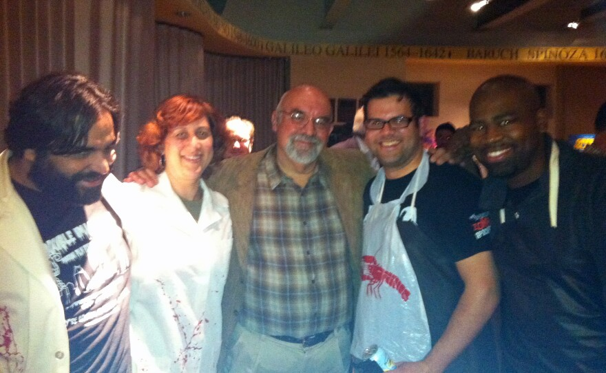 """Reaping the rewards of our geekiness: Miguel Rodriguez, Beth Accomando, director Stuart Gordon, Sanns Dixon, and Phil Lorenzo at """"Re-Animator: The Musical."""""""