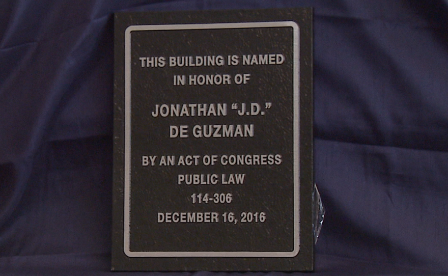 """Jonathan """"J.D."""" De Guzman's dedication plaque that will be displayed on the Chula Vista Post Office. March 6, 2017."""
