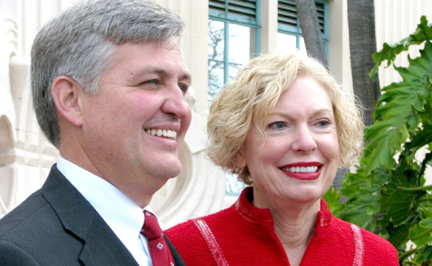 County Supervisor Dave Roberts stands next to his predecessor, Pam Slater-Price, 2012