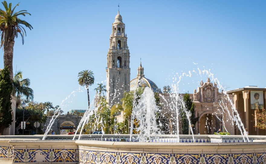 Pictured is the fountain in the center of the Plaza de Panama at Balboa Park, Jan. 15, 2015.