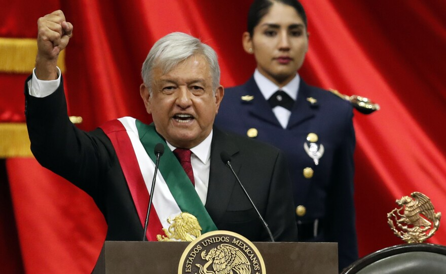 Mexico's new President Andres Manuel Lopez Obrador speaks during his inaugural ceremony at the National Congress in Mexico City, Saturday, Dec. 1, 2018.