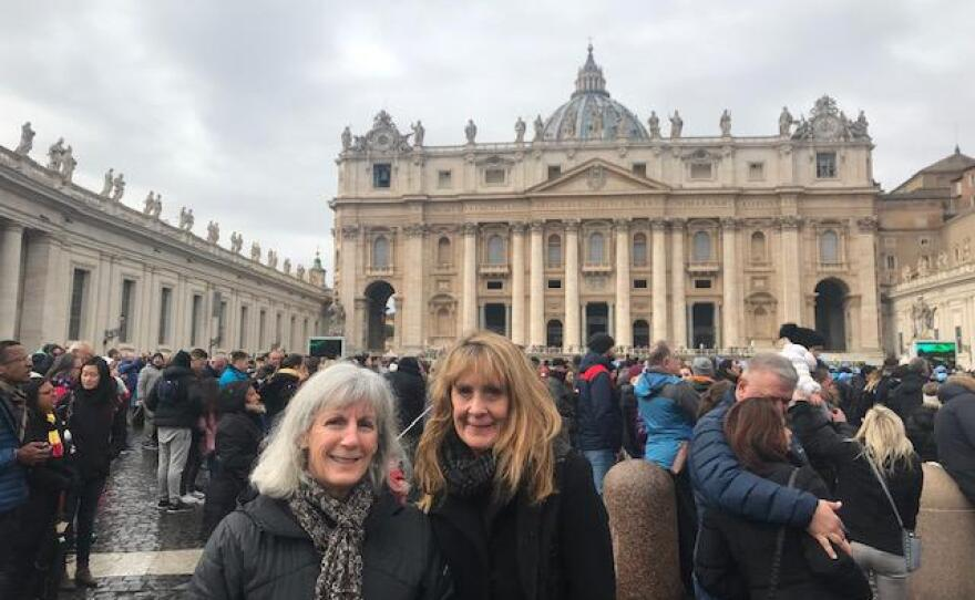 Kimberly (right) with a friend on a trip to Italy. The trip was organized through Stitch, a program that connects seniors throughout the world.