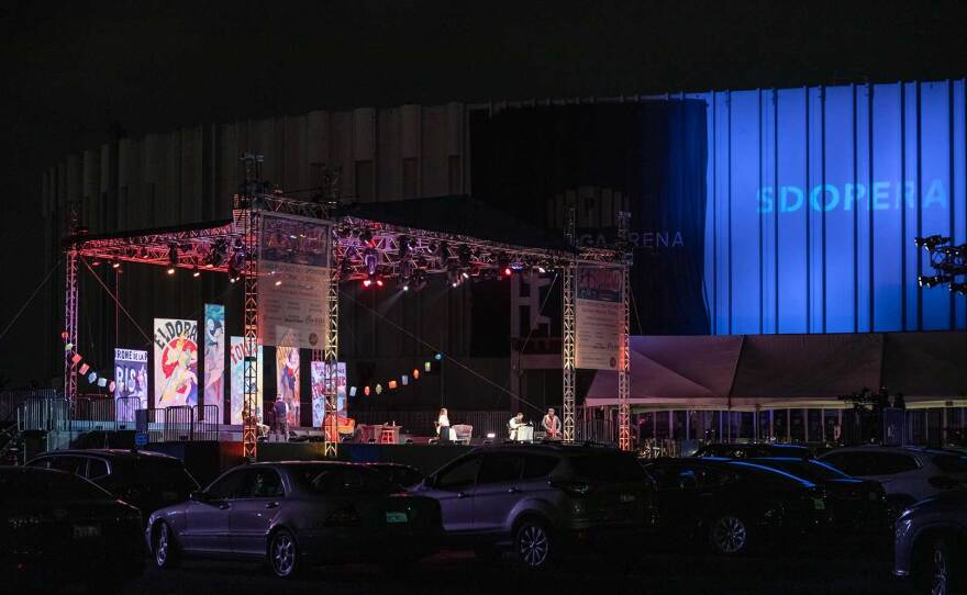"""San Diego Opera's """"La Bohème,"""" presented in a new drive-in adaptation, is pictured on October 24, 2020. Performances run through November 1."""