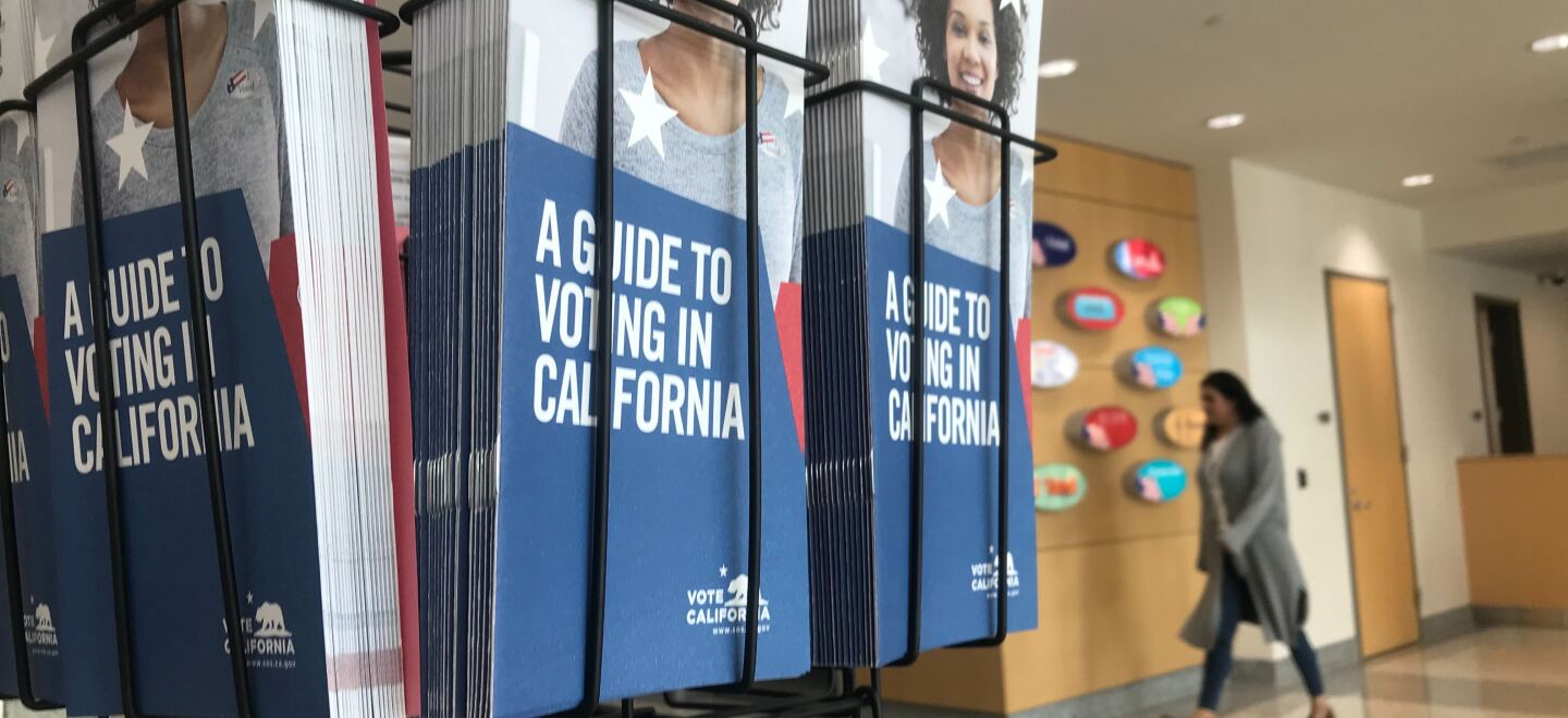 A California voter guide is pictured at the San Diego County Registrar of Voters, Feb. 18, 2020.