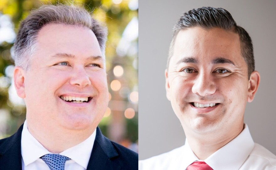San Diego City Council District 6 candidates Democrat Tommy Hough and Republican Chris Cate are shown in this undated photo.