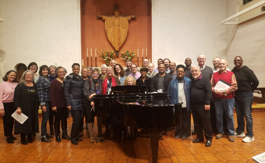 """A rehearsal photo of the Bodhi Tree Concerts' """"The Long Dark Shadow,"""" which will be performed at St. James By the Sea (pictured here) on Saturday and at Downtown Abbey in National City on Sunday."""